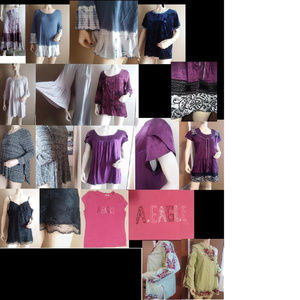 10 bundle lot shirts & dresses L-XL boho hippie